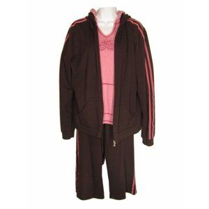 JCP SB Active M/L TALL Set Brown Pink French Terry